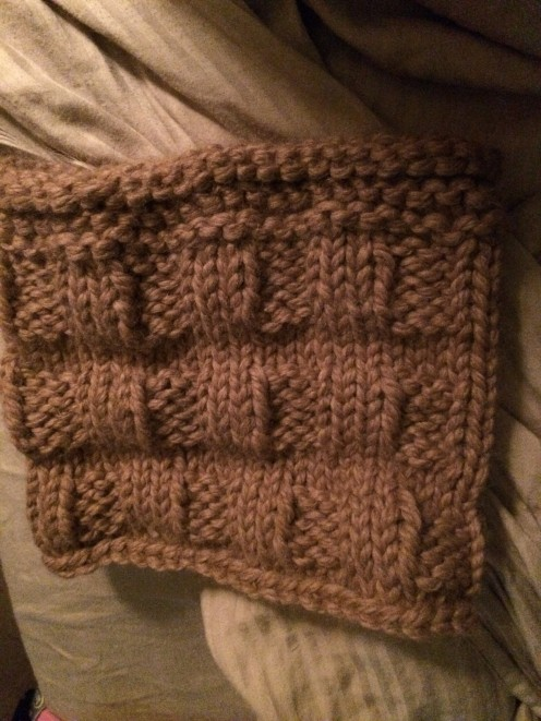 Here is a picture of the completed cowl finished in baby grande alpaca yarn! It's super soft and cuddly!