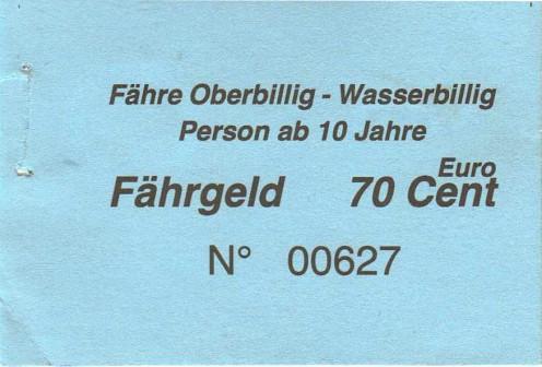 Ferry ticket Oberbillig-Wasserbillig, 2012