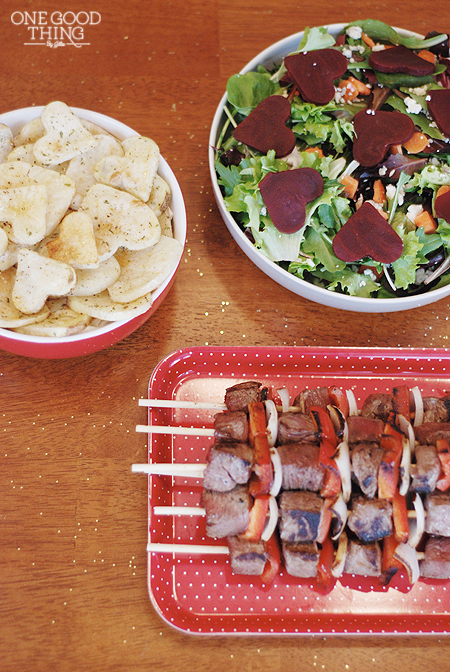 Beef kabobs, heart shaped potatoes, and a delicious salad with red beet hearts is a great Valentine's Day menu for kids