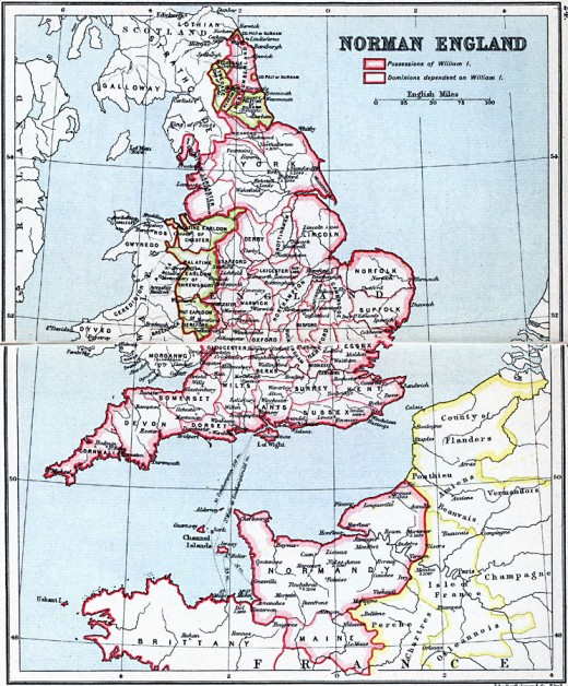England and her neighbours, 1066. William had his sights on Wales and Scotland after England's subjugation early in 1071 - the once great earldoms parcelled out to his minions for easier 'management'