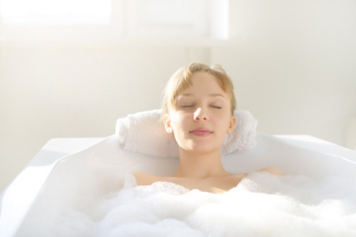 Start the warm water, add the Lavender and Clary Sage to the tub and soak your way to relaxation.