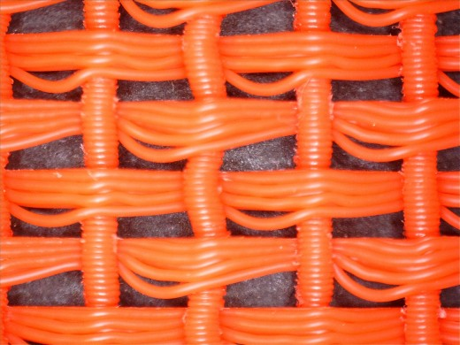 This is a close-up of 3D printed fabric constructed to mimic basket weave.