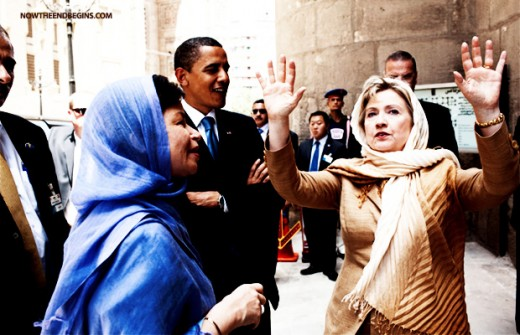 President Obama with Hillary Clinton and Valerie Jarrett
