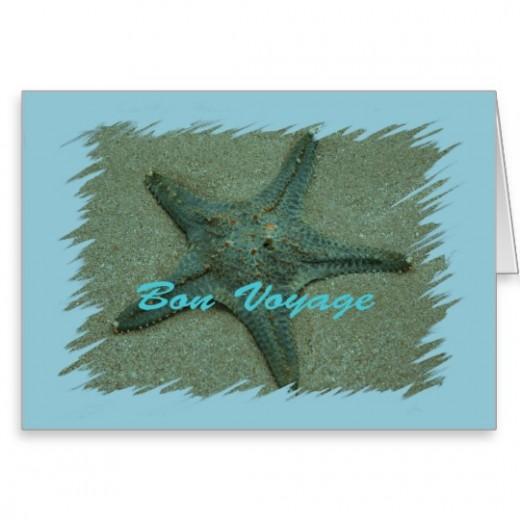 Bright starfish greeting card