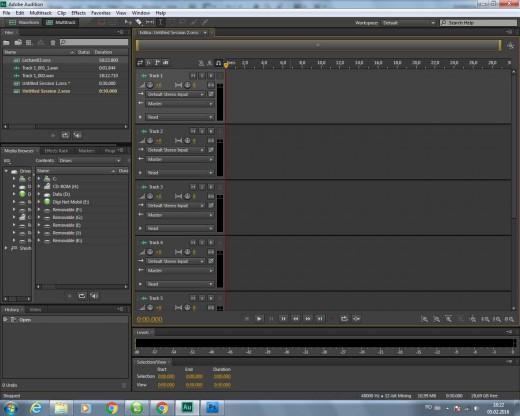 A New Multitrack Session in Adobe Audition CS6