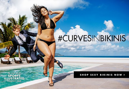 An advertisement for Swimsuits For All, a plus-size swimsuit company, featuring model Ashley Graham.