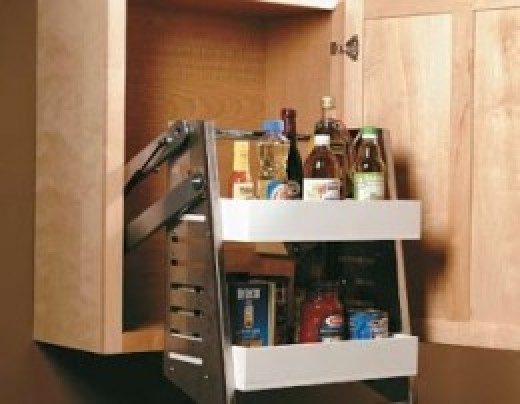 Pull-down shelving brings top shelf items safely to your fingertips.