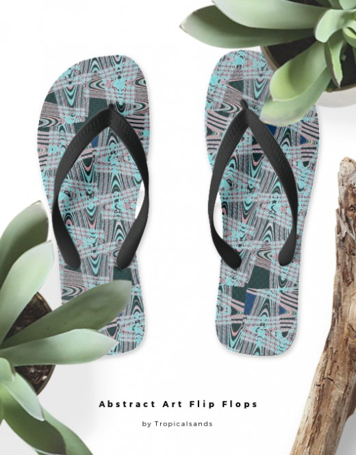 For your next beach vacation.Notice how well these flip flops match the colours and the abstracy graphic on the  bag, in the above photo.