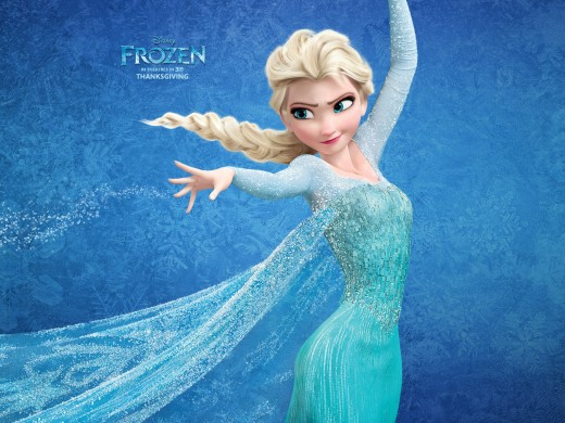 A poster showing Elsa from Disney's 2013 film Frozen. Her character was the new subject of scrutiny for her (obviously) cartoonish proportions.