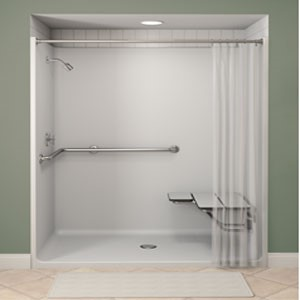 This is a great example of a no-threshold shower, complete with safety grab bars and a mounted shower seat.
