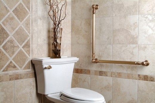 Well-placed grab bars in the bathroom can be functional as well as stylish.