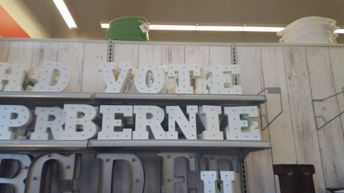 Megan found the right letters to spell out VOTE BERNIE in this craft store. Well done!