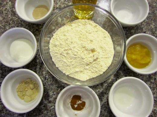 Ingredients: dry active yeast, apple juice, unsweetened applesauce, sugar, powder gluten free egg replacer, salt, canola oil, cinnamon, and gluten free pizza crust.