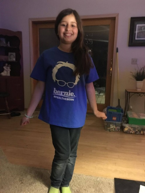 Here's Sofia ready to head to school. She worried that some kids might tease her for being a Bernie fan, but it went fine.