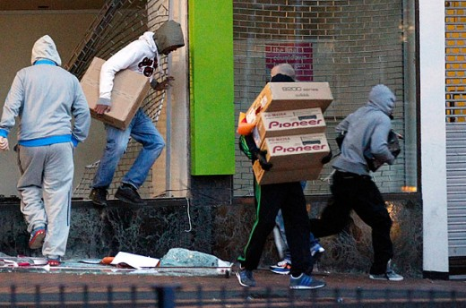 Looters in Central Birmingham, England during the riots.