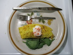 Happy Wife Happy Life Cook Book - Cheddar Spinach Crab Meat Omlette