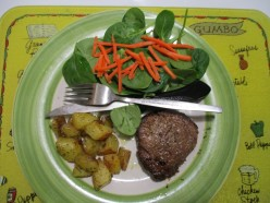 The Happy Wife Happy Life Cook Book - Petite Fillet with Dill Potatoes and Spinach Salad