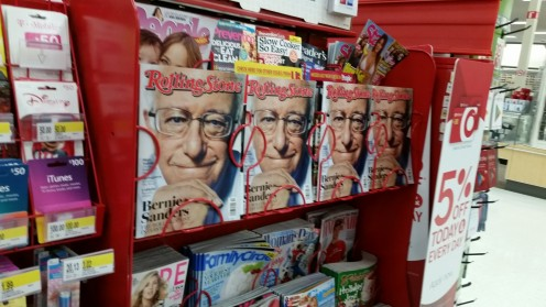 Krystal cleverly rearranged the magazine rack in Target to feature Bernie Sanders' cover picture on the Rolling Stone.