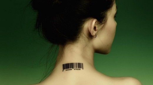 An implantable as neck tattoo