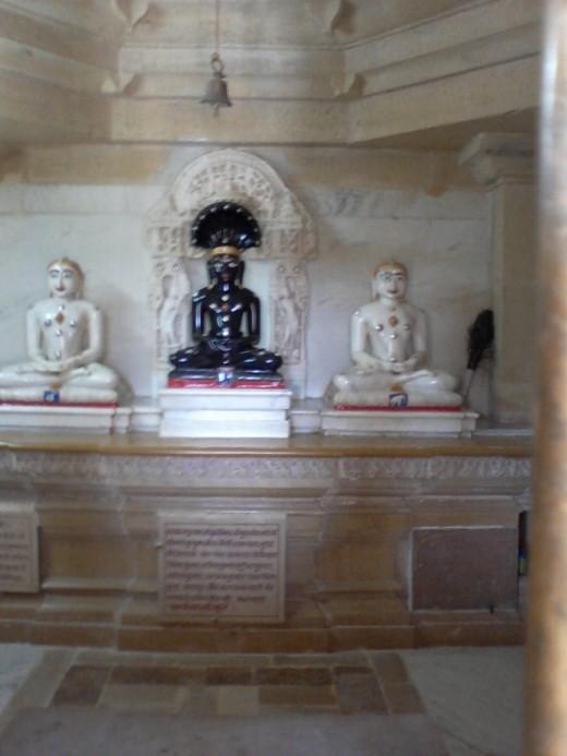 Sand stone idols, looks like marble or granite.  Astonishing artistry.