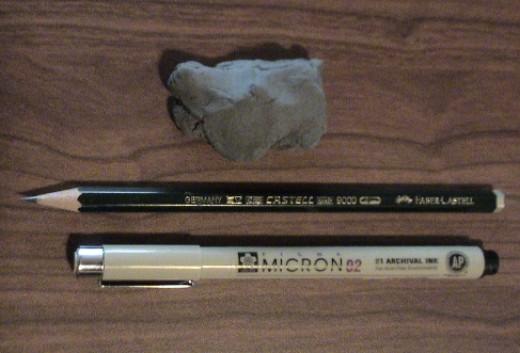 eraser, pencil, waterproof pen