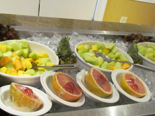 Various fresh fruits that were displayed for breakfast at The Tenth Floor Grill within the hotel.