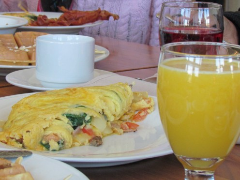 Spinach omelets were prepared upon request by Chef Abdullah.