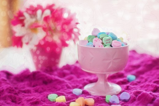 Candy hearts are very popular treats at many Valentine's Day parties.