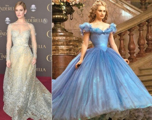 Actress Lily James on the red carpet (left) and in her corseted dress in the 2015 Disney film Cinderella (right). Lily James was attacked on social media following the premiere for her thin waist in the movie, despite the historical setting.