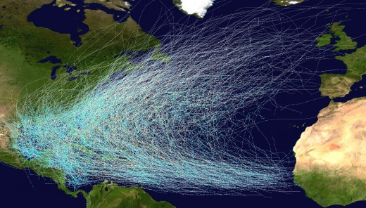 This graphic shows the paths of hurricanes that form in the eastern Atlantic Ocean and move west toward Caribbean islands such as Cozumel.