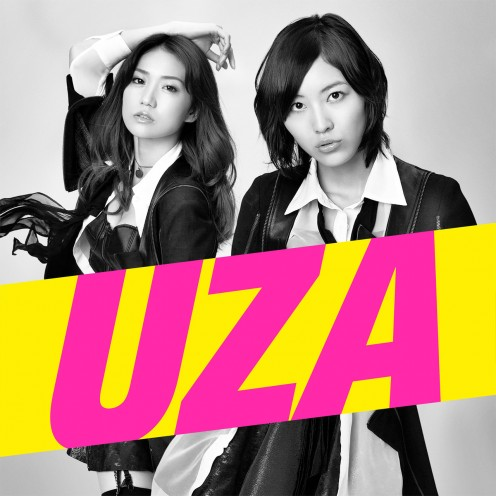 On the cover of the CD single for UZA are singers Yuko Oshima (left) and Jurina Matsui (right).