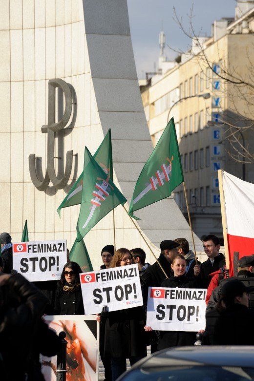 Conservatives protesting against the International Women's day in Warsaw, Poland.