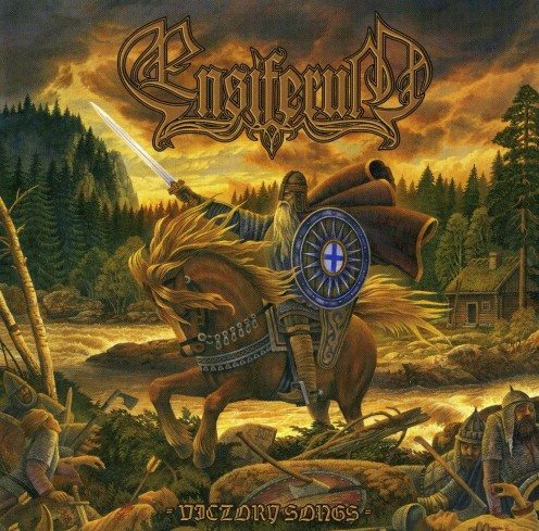 The cover depicts a warrior that is ready to go into battle and defend his land. Ensiferum's lyrical themes have a lot to do with knights, warriors, and other fantasy based characters.