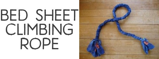 Bed sheet climbing rope