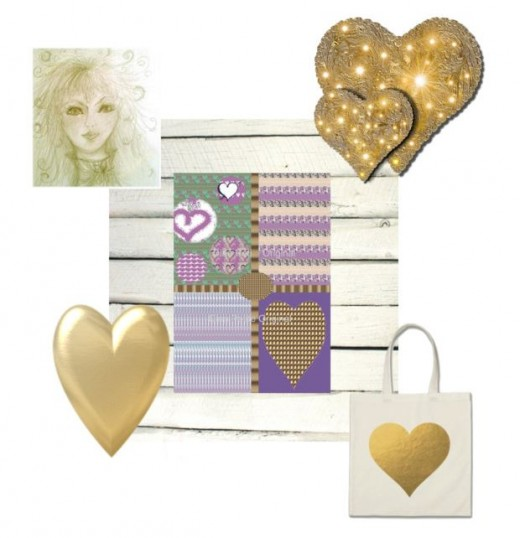 Golden Hearts With Purple Graphic Art