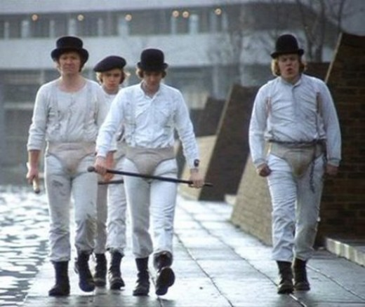 Alex De Large with his  droogs, Georgie, Dim and Pete
