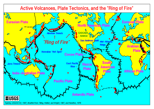 This map of the Ring Of Fire clearly indicates just how big this massive subduction zone is and how many counties it effects.