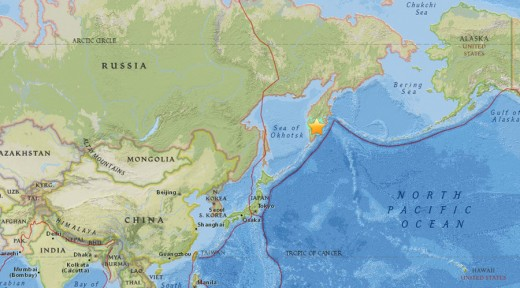 A week after the Alaska quake the Eastern Coast of Russia was hit with a similar magnitude earthquake of 7.3 on the Kamchatka Peninsula.
