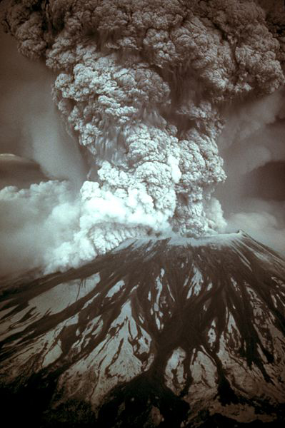 Mt. Saint Helens erupted in 1980 and ash fell as far away as Colorado, over 1500 miles away.