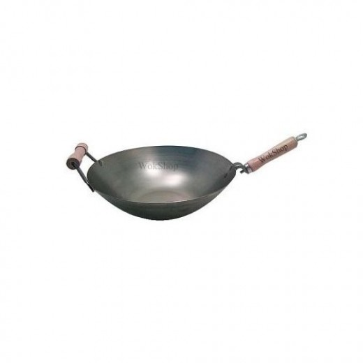 With a flat bottom, enabling it to sit directly on either electric stove or grills, this 16 inch wok is versatile, durable, and great for beginners and experienced chefs alike.  This heavy wok is also available in a round-bottomed version.