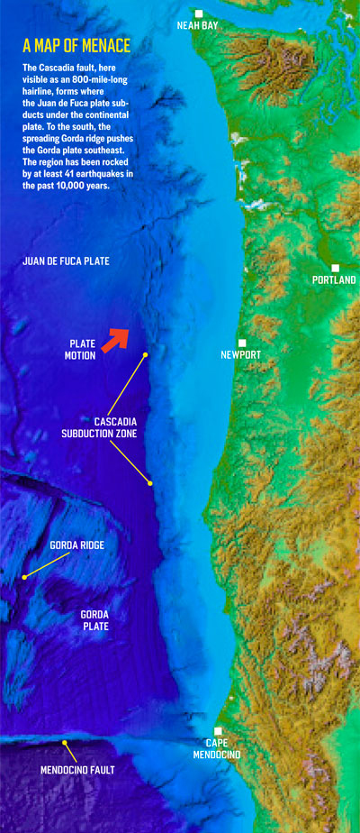 This illustration shows the Cascadia Subduction Zone, off the Oregon coast.