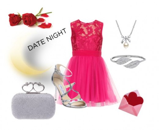 Step into a romantic cerise  dress and silver shoes.