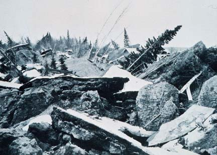 Old photo of an altered landscape after the New Madrid Earthquakes of 1812
