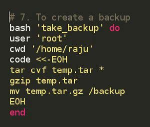 Figure 3.7: Code for taking a backup