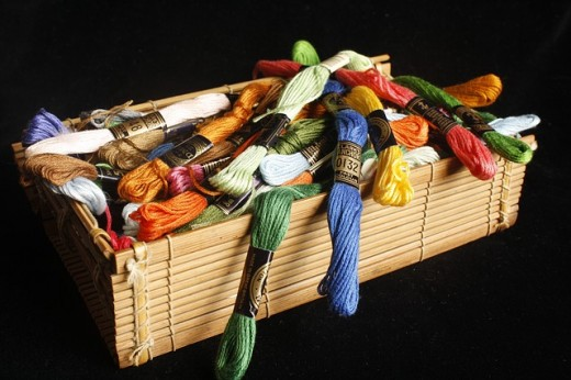 Basket of floss colors
