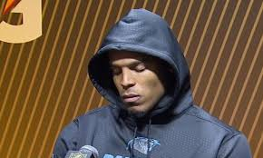 Cam Newton wasn't wearing his normal flashy suits after his poor performance in Super Bowl 50