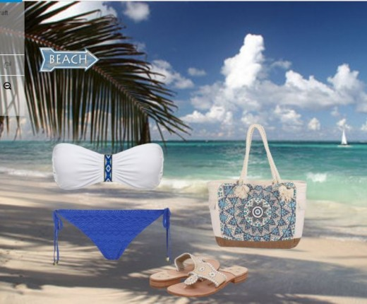 Cute blue and white bikini and boho bag