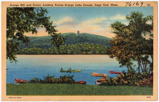 Postcard of Scargo Lake in the 1930s