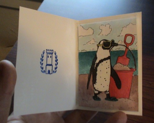 penguin at beach aceo atc trading card in plain poster board cover