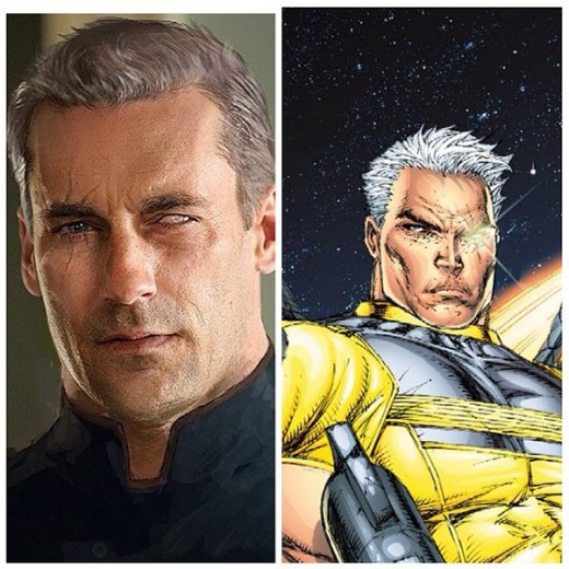 A photoshopped image of Jon Hamm (left) as Cable (right)